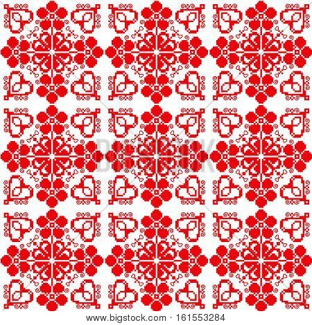 Traditional Slavic ornament for embroidery in red color