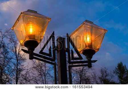 Lamppost at night in Ivanovo (Russian Federation)