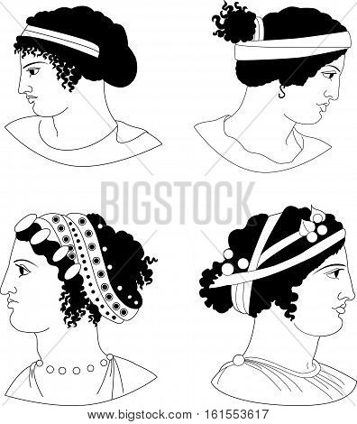 Set of images of ancient Greek women heads. Vector illustration.