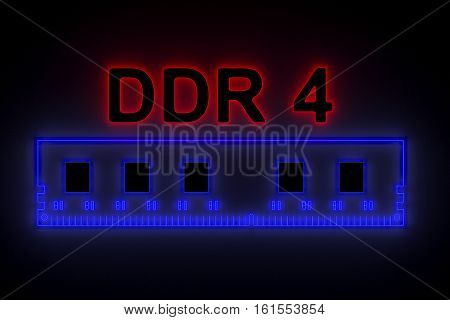 DDR4 is presented in the form of neon 3d illustration