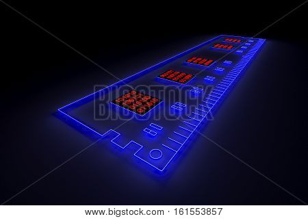 DDR is presented in the form of neon with binary code 3d illustration