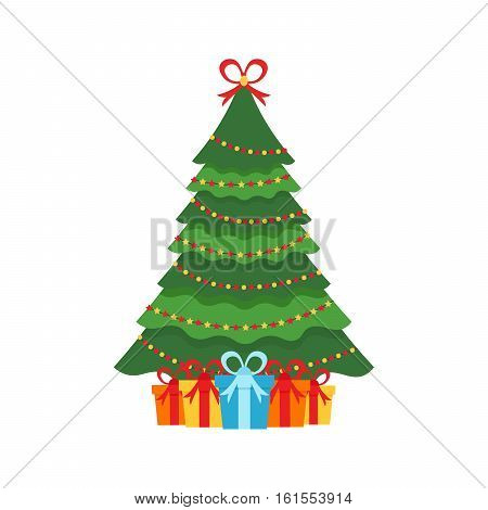 Beautiful elegant green Christmas tree. Multi-colored garland. Colorful gifts. Vector illustration on a white background.