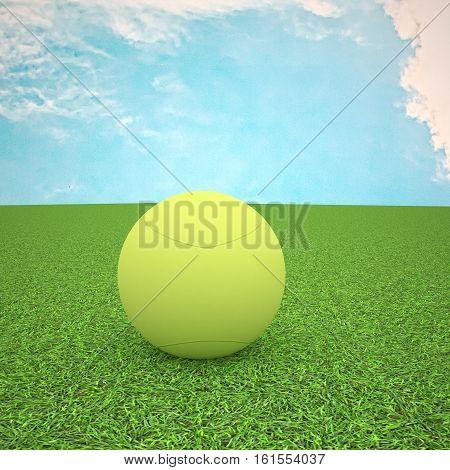 Tennis Ball Over Green Grass