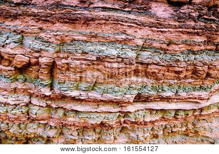 Impressions of the Canyon Quebrada de las Conchas with walls of rock displaying layers with several different colors close to Cafayate in Chile South America