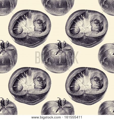 Seamless pattern with cut tomatoes drawn by hand with pencil. Healthy vegan food. Fresh tasty vegetables painted from nature. Tinted black and white