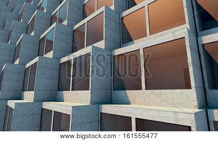 Futuristic architecture. Future building. Future concept 3d render