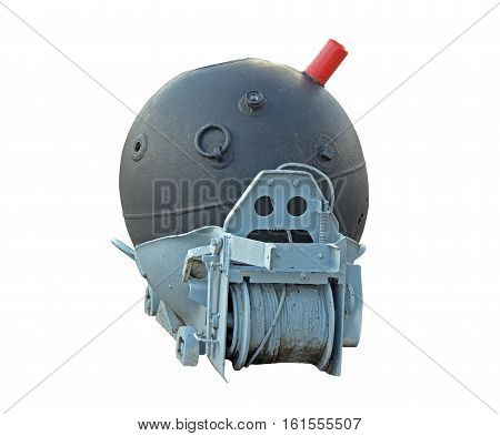 Soviet WW-2 marine mine on a white background