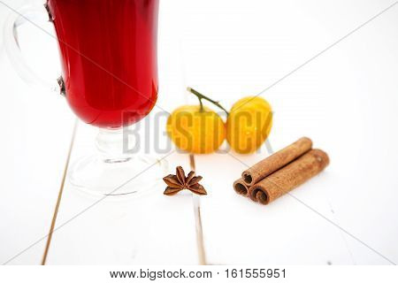 Mulled Wine In Glass With Cinnamon Stick