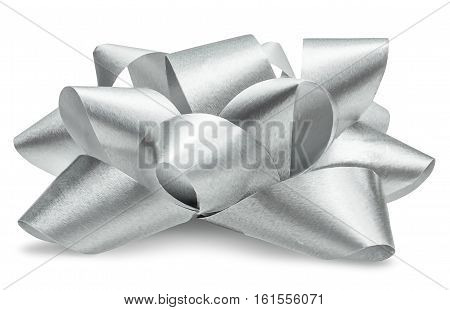 Silver bow isolated with clipping path, side view