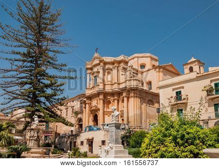 The facade of the church of St. Dominic - a magnificent specimen Sicilian Baroque in Noto, Sicily, Italy.