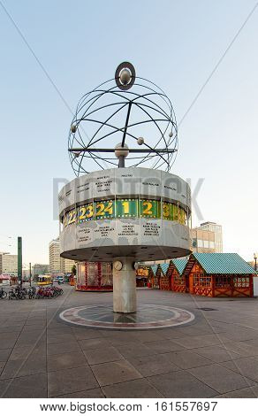 Berlin Germany - November 29 2016: Urania Weltzeituhr clock universal in Berlin in Alexanderplatz