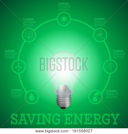 Luminous bulb on green Luminous background surrounded with energy resources logos-solar panelfusion powersolar electricitywind turbinehydro energysmoking chimneypower line.Saving energy concept