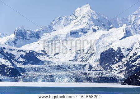 The scenic view of a glacier next to the mountain in Glacier Bay national park (Alaska).