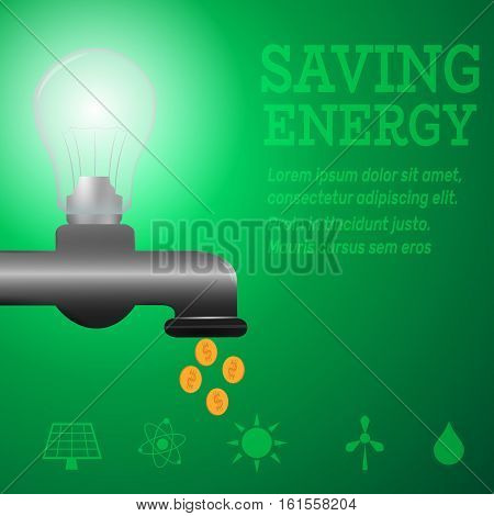 Ecology infographic.Luminous bulb on kitchen bathroom faucet on green luminous background with Alternative energy resource logos-solar panel, fusion power, solar electricity, wind turbine, hydro energy.