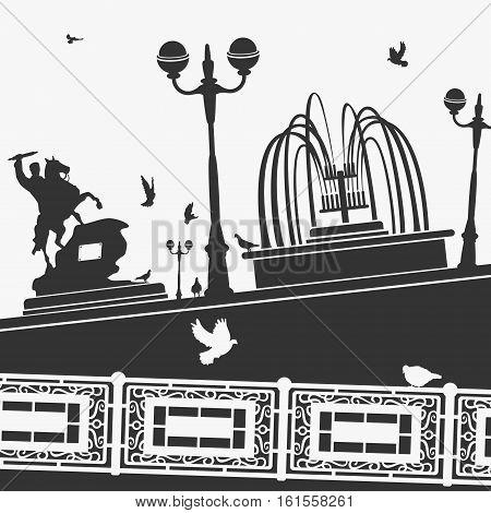 City Park and Landmarks Vector Illustration eps 8 file format