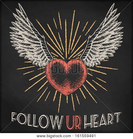 Hand drawn vector sketch illustration - creative vintage valentines day love card design, heart with sunburst and wings, black chalkboard grunge background.