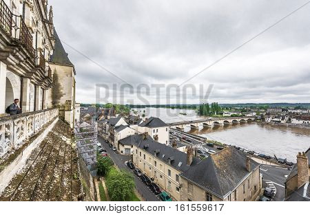 Amboise, France - June 2016: View on Loire valley from Amboise castle