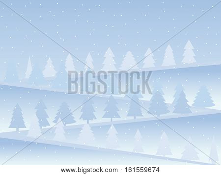 Snow-covered mountains with Christmas trees. Snow landscape in flat style. Vector illustration.