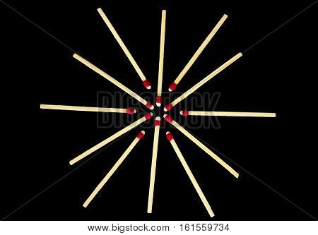 Simple Star Design With Matches, Isolated