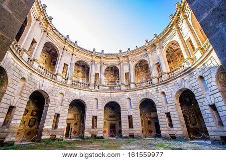 CAPRAROLA Italy - November 1 2016 - the circular courtyard inside of Villa Farnese in Caprarola Italy