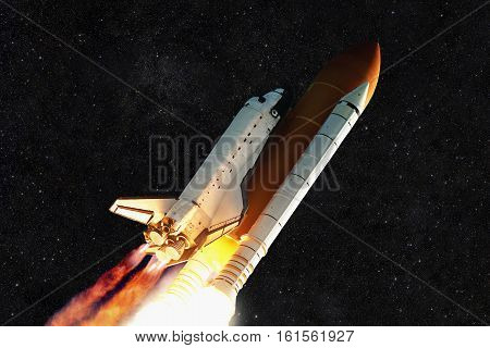 Spaceship rocket and starry sky. Ship flies into space