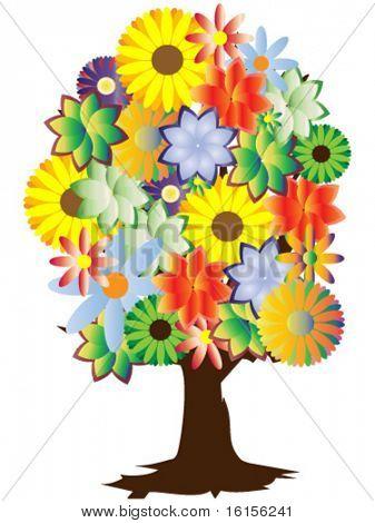 Floral tree - vector illustration