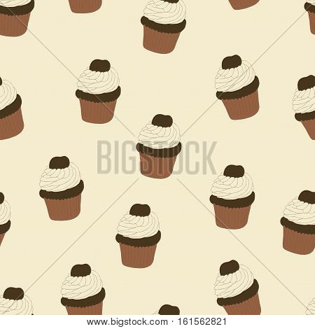 Seamless pattern with hand drawn and painted cupcakes. Vector graphic. Beautiful delicious sweets for girls. Creamy cakes illustration. Beige background.