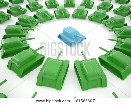 Blue tank surrounded by other green tanks 3D rendering