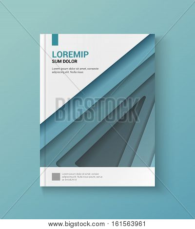 Modern blue cover of the annual report. flyer template or book cover layout design, abstract shapes in the style of the material design.