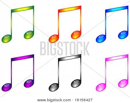 Shiny musical notes vector illustration
