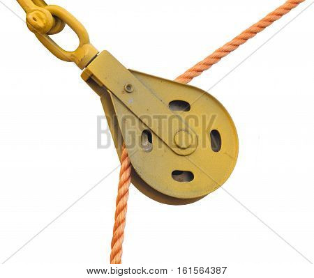 big Pulley and rope on white background