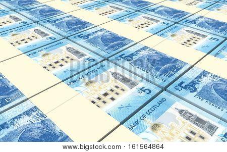 Scotland pound bills stacks background. 3D illustration