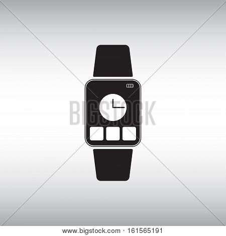 Smart watch flat vector icon. Isolated smart watch vector sign. Vector illustration of smart watch with clock face and application buttons.