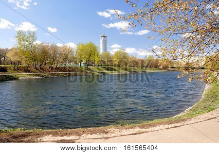 The pond of the city Park in Moscow. Spring