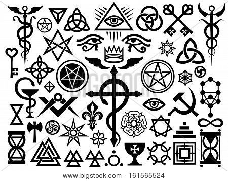 Medieval Occult Signs And Magic Stamps Sigils Locks Knots. Mystic symbols (Revisited issue: Origin set)