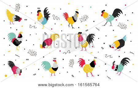 Set roosters in a pop art style. Roosters with geomericheskimi elements in the style of the 90's, they can be used in the flyer, banners, advertisements. Rooster symbol 2017.