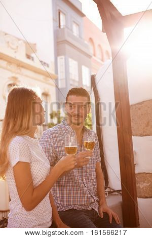 Handsome Millenial Couple Enjoying Some Beers