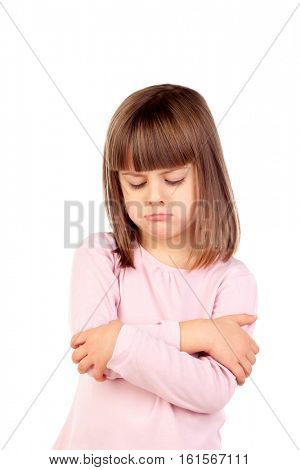Very angry girl with pink t-shirt isolated on a white background