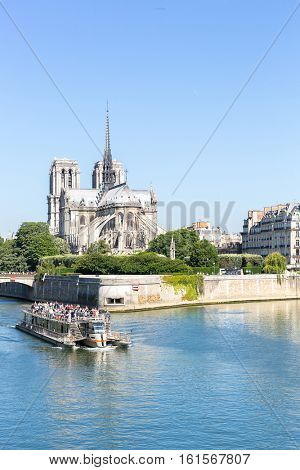 tourist cruise in River Seine Paris with Cathedral Notre Dame Reims Champagne