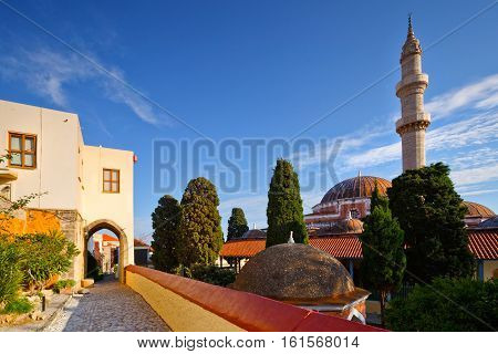 Suleiman Mosque in the historic town of Rhodes.