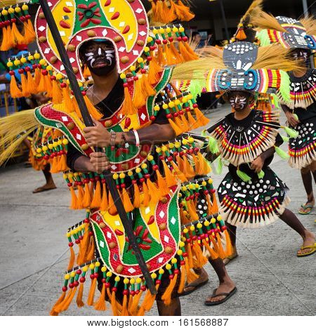 KALIBO, PHILIPPINES, 17 January 2014 - Colorful street parade in the 2014 Ati-atihan Festival in Kalibo Philippines