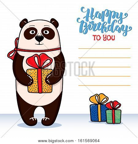 Happy birthday greeting card with panda holding gift, lettering and lines for congratulations and signature, cartoon vector illustration. Happy birthday greeting card design with funny panda and gifts