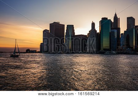 Sailing Boat In The Waters Of The East River