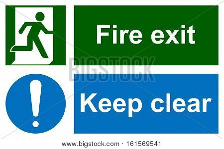 Green emergency exit sign on white and Keep clear sign. Information mandatory symbol in blue circle isolated on white. Vector illustration