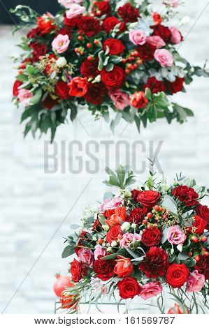 Rich Red Bouquets Of Roses, Peonies And Ranunculus