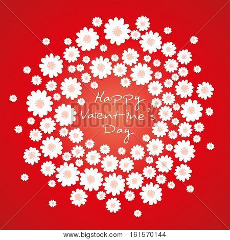 Happy Valentines day vector background. Wreath with spring daisies.