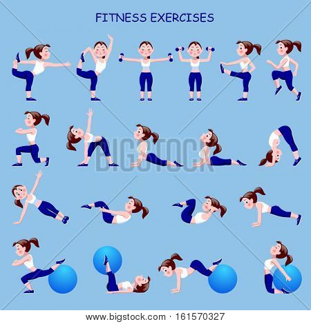 Fitness exercises with cartoon girl in blue and white suit. Vector illustration.