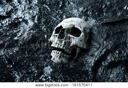ancient human skull. Apocalypse concept. 3d rendering