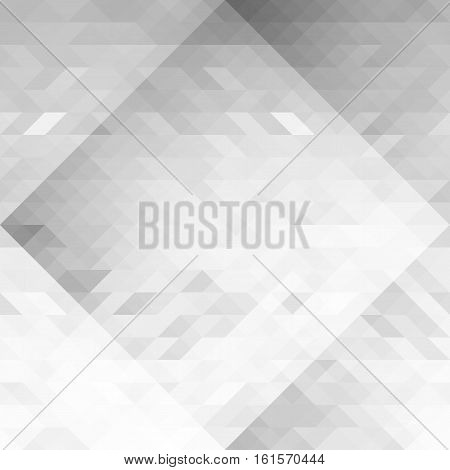 Grayscale triangles abstraction geometric seamless background. Gray polygon pattern. Can be used as a webpage background banner poster logo. Vector. Made using clipping mask