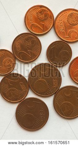 Euro Coins 1 And 2 Cents - Vertical